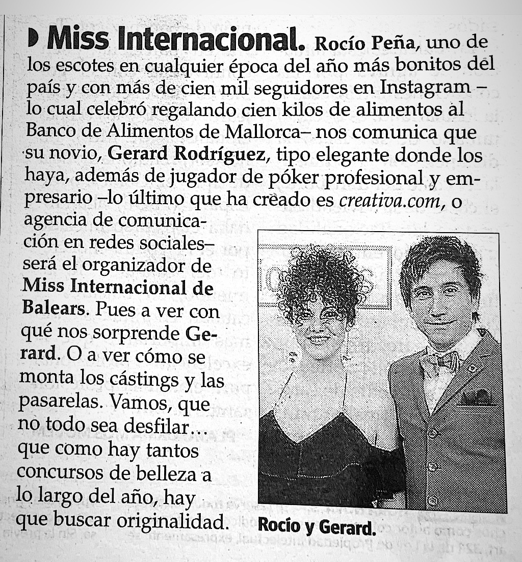 Gerardx y Rozyo Miss International Baleares